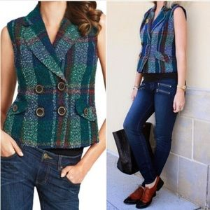 Cabi💕Plaid Tweed Button Double Breasted Vest S